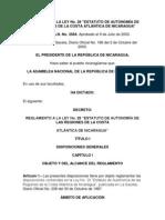 Reglamento a La Ley No28 Estatuto de Autonomia de Las Regiones de La Costa Atlantica de Nicaragua