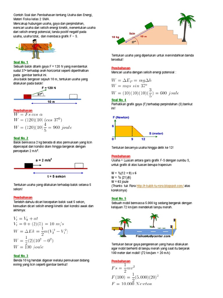 Contoh Soal Fisika Materi Usaha Dan Energi