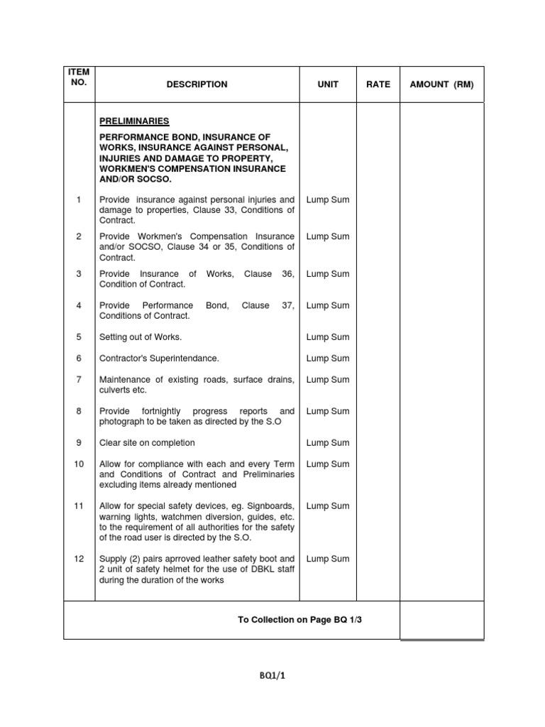 Bills of quantities preliminaries workspdf altavistaventures Choice Image