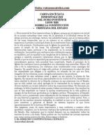 CARTA ENCÍCLICA IMMORTALE DEI DEL SUMO PONTÍFICE LEÓN XIII SOBRE LA CONSTITUCIÓN CRISTIANA DEL ESTADO