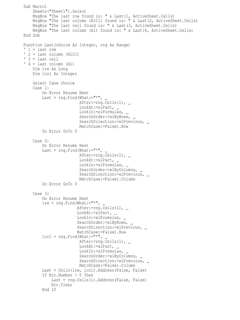 Find Last Row Column Last Entrytxt Computer Programming Areas