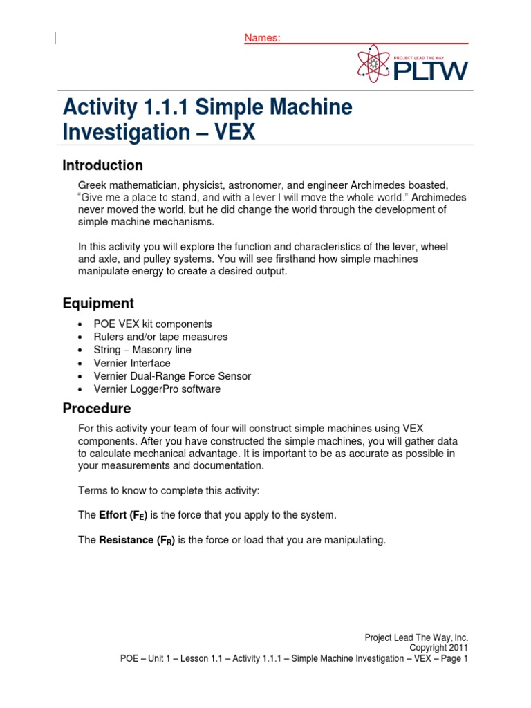 A111SimpleMachineInvestigationVEXdocx Machines – Mechanical Advantage of Simple Machines Worksheet