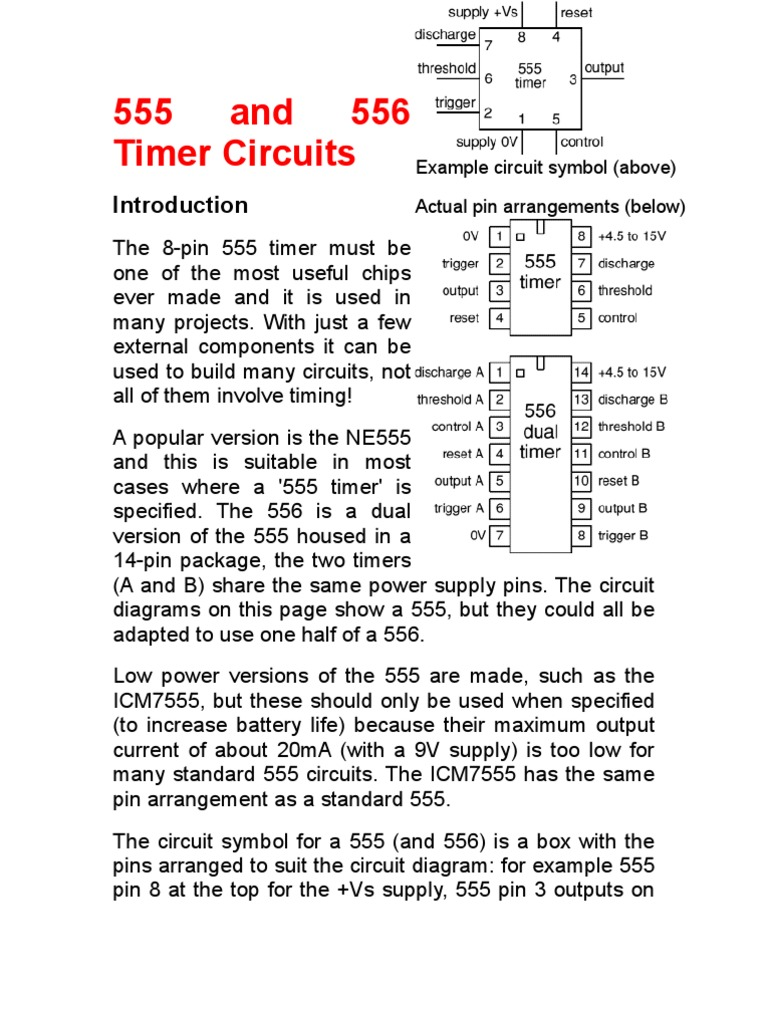555 And 556 Timer Circuits Capacitor Series Parallel