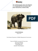 Population Density and Demography of the Asian Elephant (Elephas maximus) during the First Wet Season at theBannerghatta National Park, Southern India.