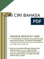 CIRI CIRI BAHASA