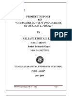"""PROJECT REPORT OF """"CUSTOMER LOYALTY PROGRAMME OF RELIACE FRESH"""