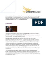 Letter of the Lords - October 25, 2013
