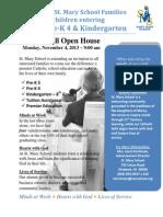 Sibling and Kindergarten Open House Invite