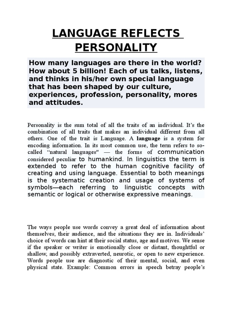 Language Reflects Personality | Extraversion And Introversion ...