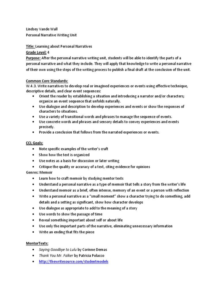 Personal Narrative Writing Unit   Narrative   Brainstorming