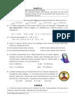Ficha de avaliação de Matemática 1º teste