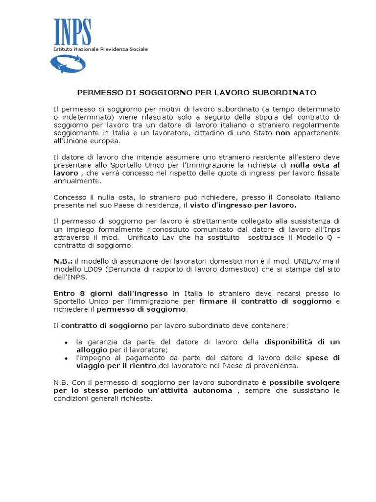 Awesome Contratto Di Soggiorno Per Lavoro Photos - Casa & Design ...