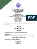 Medford City Council Agenda October 29, 2013