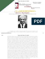 Heidegger en castellano - Epílogo a _¿Qué es metafísica__