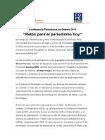 """Conferencia Periodismo en Debate 2013 """"Retos para el periodismo hoy"""""""