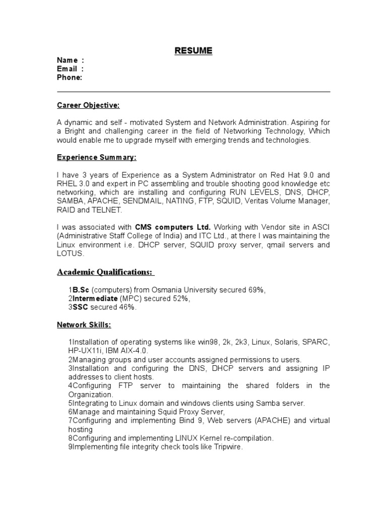 System Administrator Resume(OS:Linux) | Linux | Operating System  Networking Skills Resume