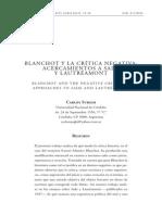 Blanchot y La Critica Negativa Acercamiento a Sade y Lautreamont