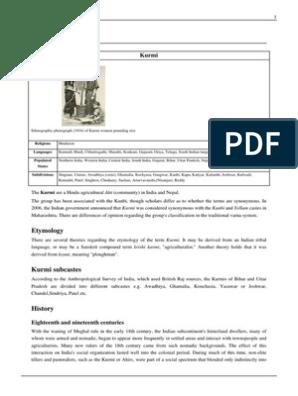 Kurmi pdf   Social Groups Of India   Demographics Of India