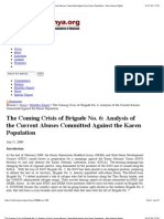 """The Coming Crisis of Brigade No. 6- Analysis of the Current Abuses Committed Against the Karen """