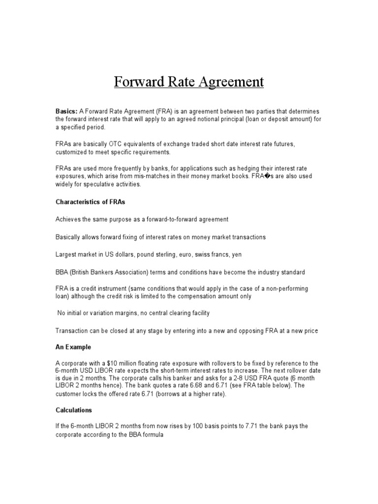 Forward Rate Agreement Calculation Interest Futures Contract