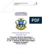 Creación del área deportiva y recreativa de independencia MZ72