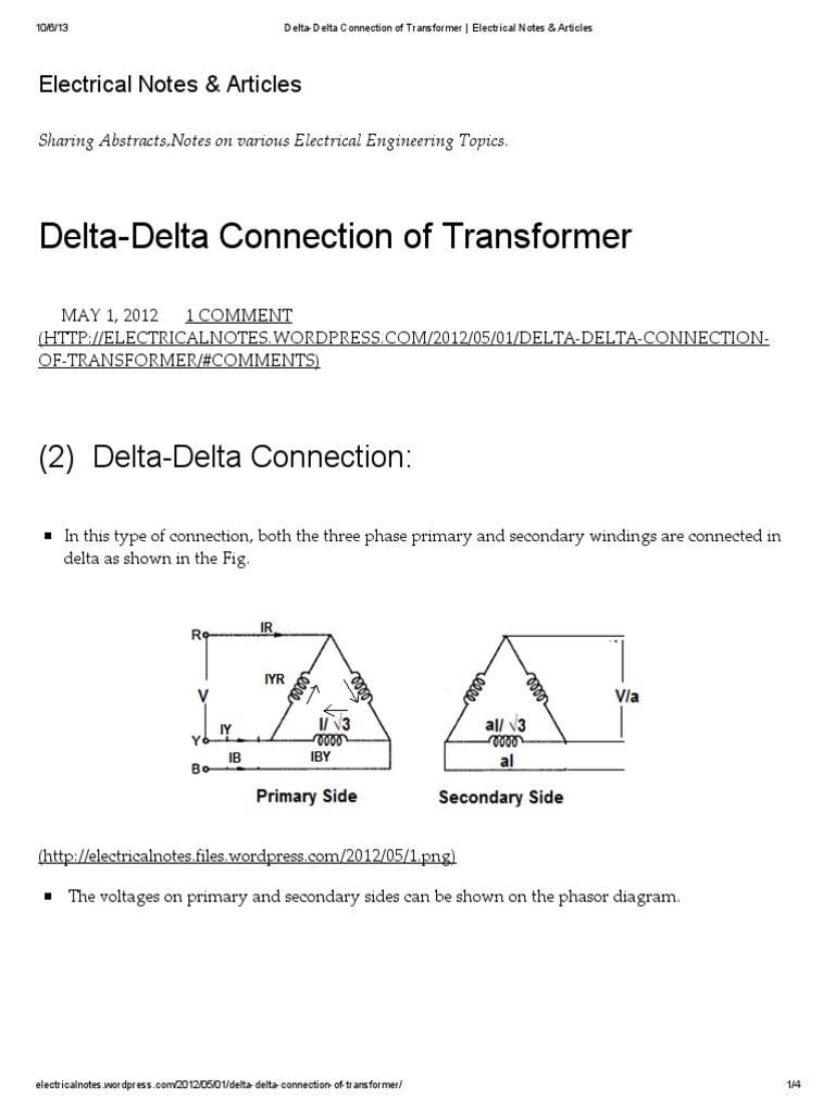 Delta delta connection of transformer electrical notes articles delta delta connection of transformer electrical notes articlespdf transformer electrical equipment sciox Gallery