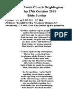 Bible Sunday 2013