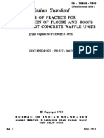 IS 10505 - 1983 CODE OF PRACTICE FOR CONSTRUCTION OF FLOORS AND ROOFS USING PRECAST CONCRETE WAFFLE UNITS.pdf