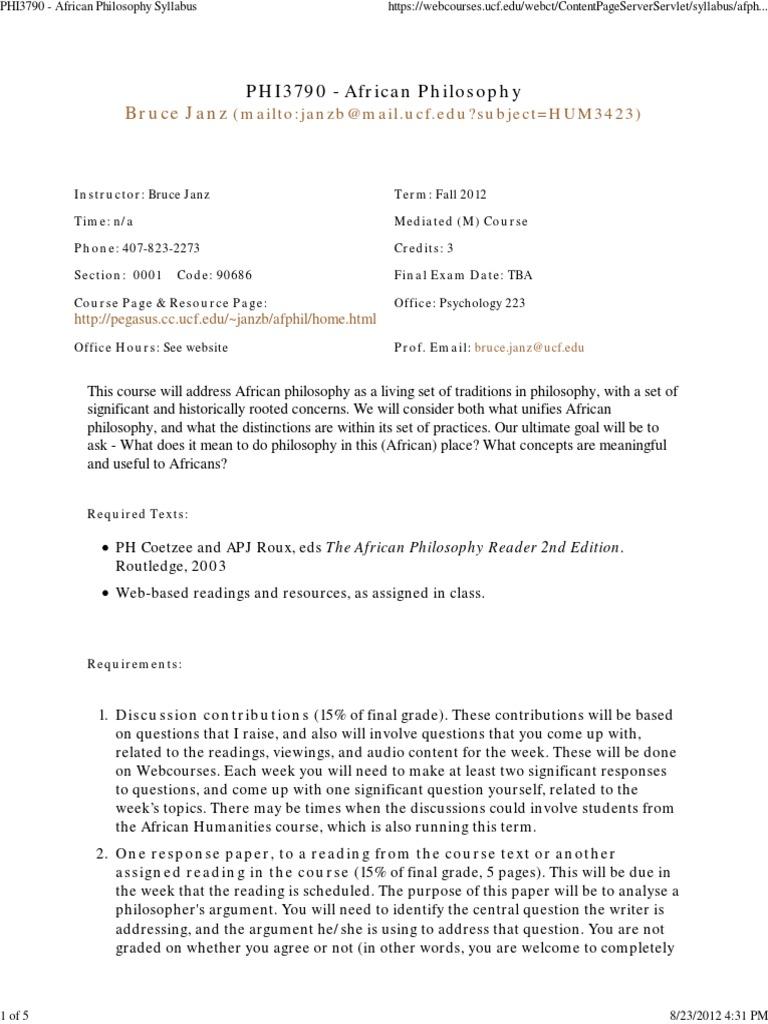 african philosophy syllabus | Understanding (45 views)