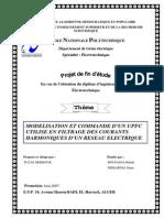 MODELISATION ET COMMANDE D'UN UPFC  UTILISE EN FILTRAGE DES COURANTS  HARMONIQUES D'UN RESEAU ELECTRIQUE