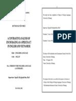 Contrastive Analysis on Speech Act, MA Thesis Summary
