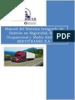 Manual Del Sistema Integrado de Gestion en Seguridad, Salud Ocupacional y Medio Ambiente SERVITRANSA S.a.