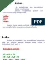 Funções Inorgânicas Ácidos e Bases