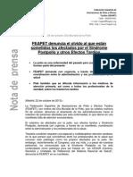 Nota de prensa FEAPET, 2013