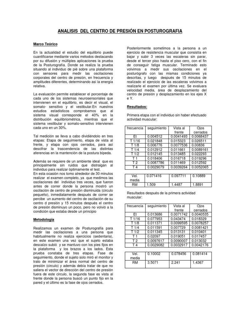 ANALISIS DEL CENTRO DE PRESIÓN EN POSTUROGRAFIA
