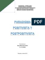 PARADIGMAS POSITIVISTA Y POSTPOSITIVISTA