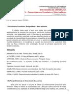 Unicamp - Programa Disciplina Desenvolvimento Econômico e Meio Ambiente