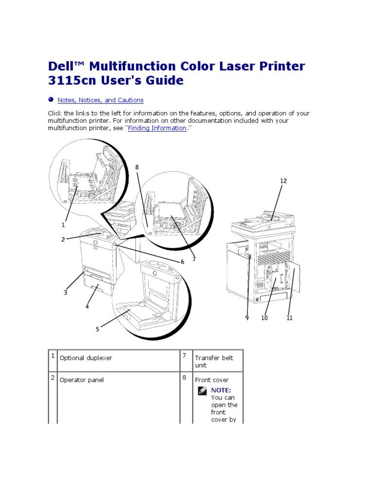 dell multifunction color laser printer 3115cn user s guide manual rh scribd com Dell 3115Cn Transfer Belt Unit Dell 3115Cn Manual