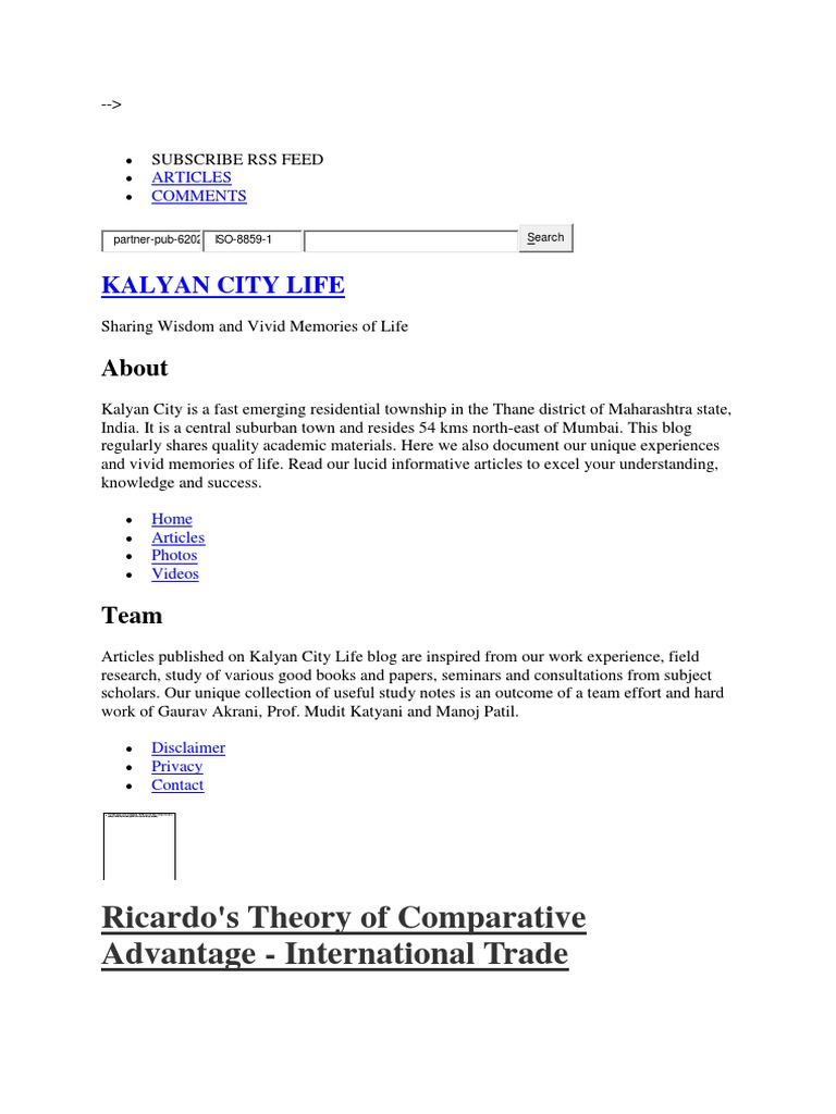 ricardos theory of comparative advantage