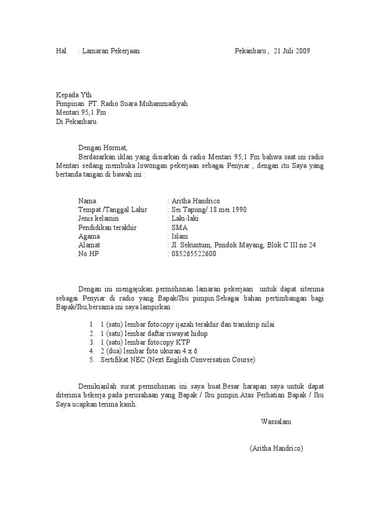 Surat Lamaran Pekerjaan Peyiar Radio Doc