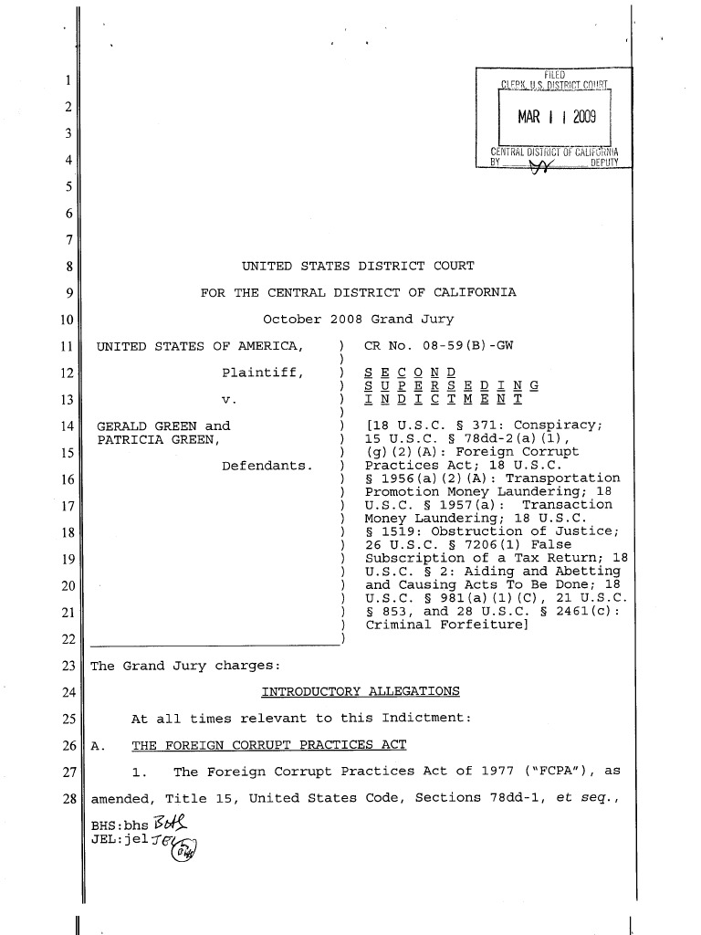 Green Second Sup Indictment