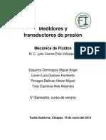 Medidores y transductores de presión