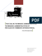 Travail de Technique Administratives Techniques Administratives Et Fiscales Du Commerce International