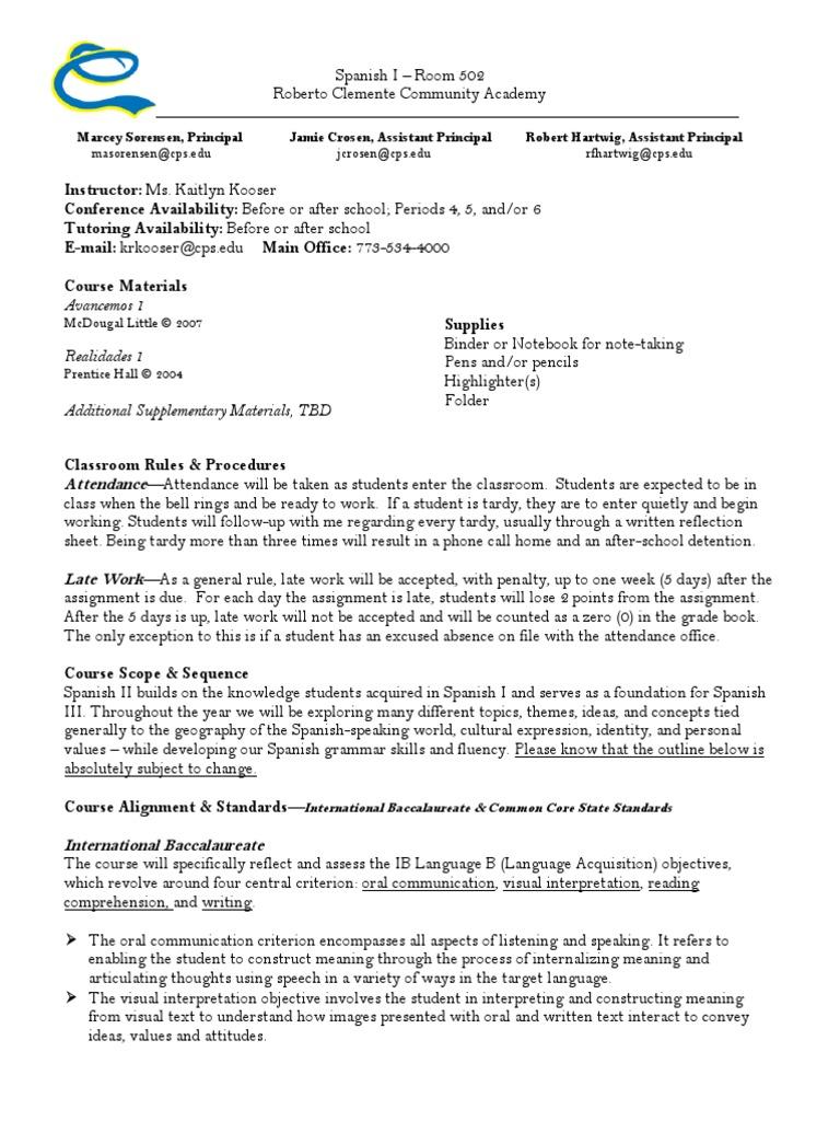 spanish 1 syllabus -kooser | Educational Assessment | Reading Comprehension