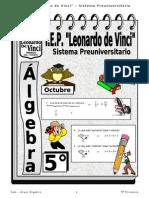 OCTUBRE - ÁLGEBRA  - 5TO