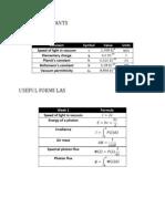 Constants Formulas Week3