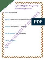 Cape Management of Business Internal Assesstment