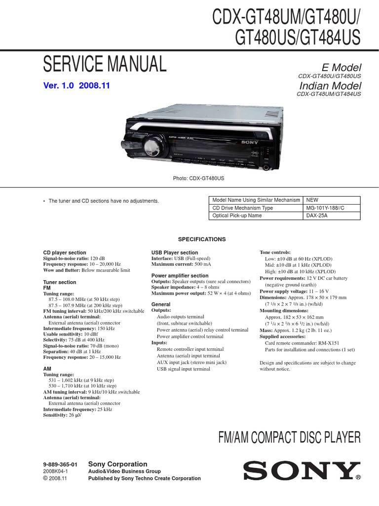 Sony Cdx Gt48um Gt480u Gt480us Gt484us Free Download S470 Wiring Diagram