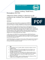 ARK Tindal Admissions Policy 2014