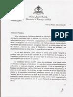Lettre du President Martelly a Madame Nonie-Matthieu President de la Cour des Comptes et du Contentieux Administratif